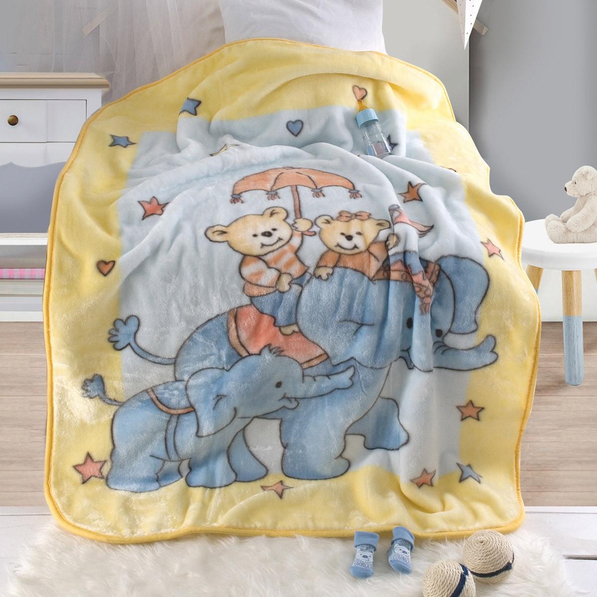 Κουβέρτα Βελουτέ Κούνιας Rythmos Elephantini