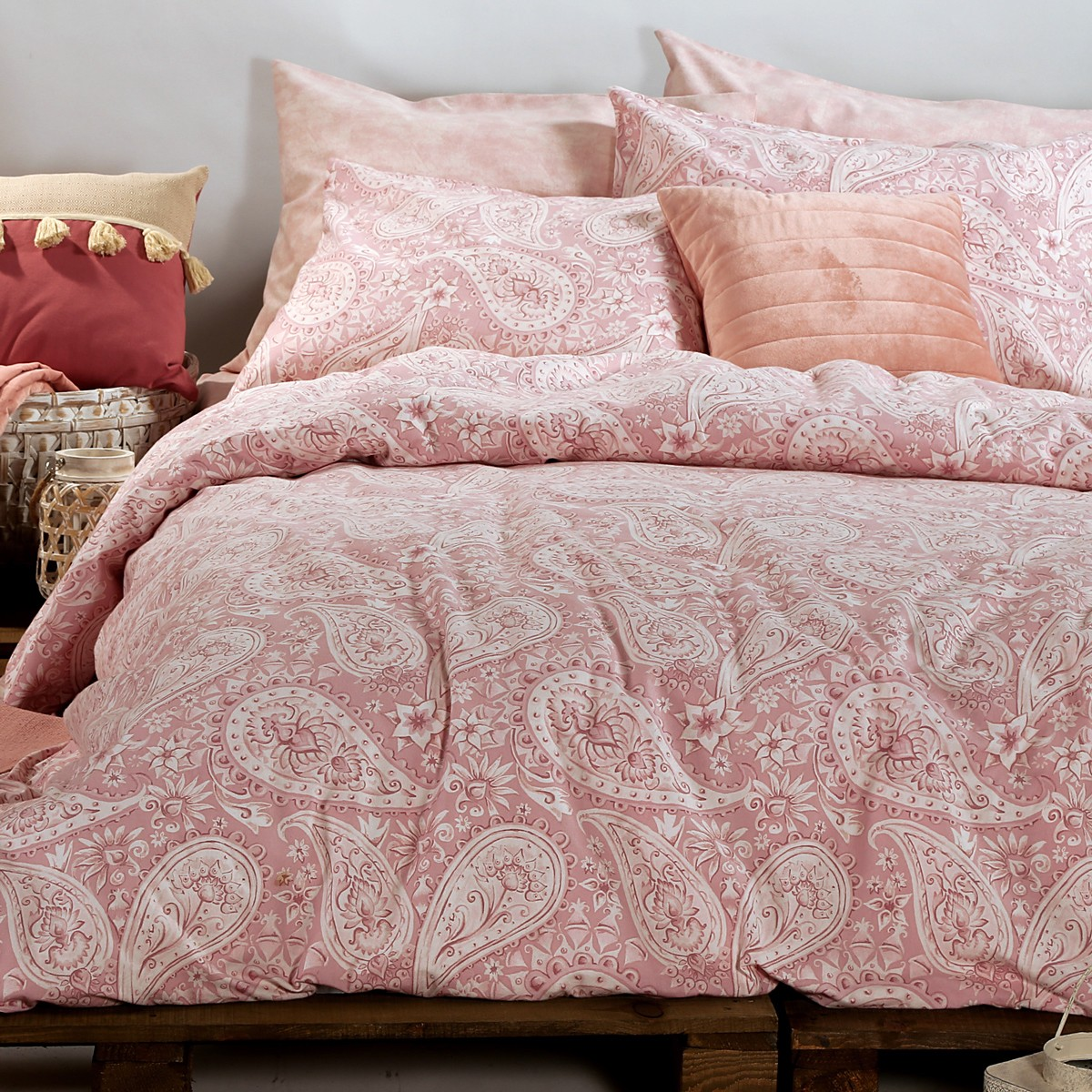 Φανελένια Σεντόνια Υπέρδιπλα (Σετ) Nef-Nef Barocco Pink