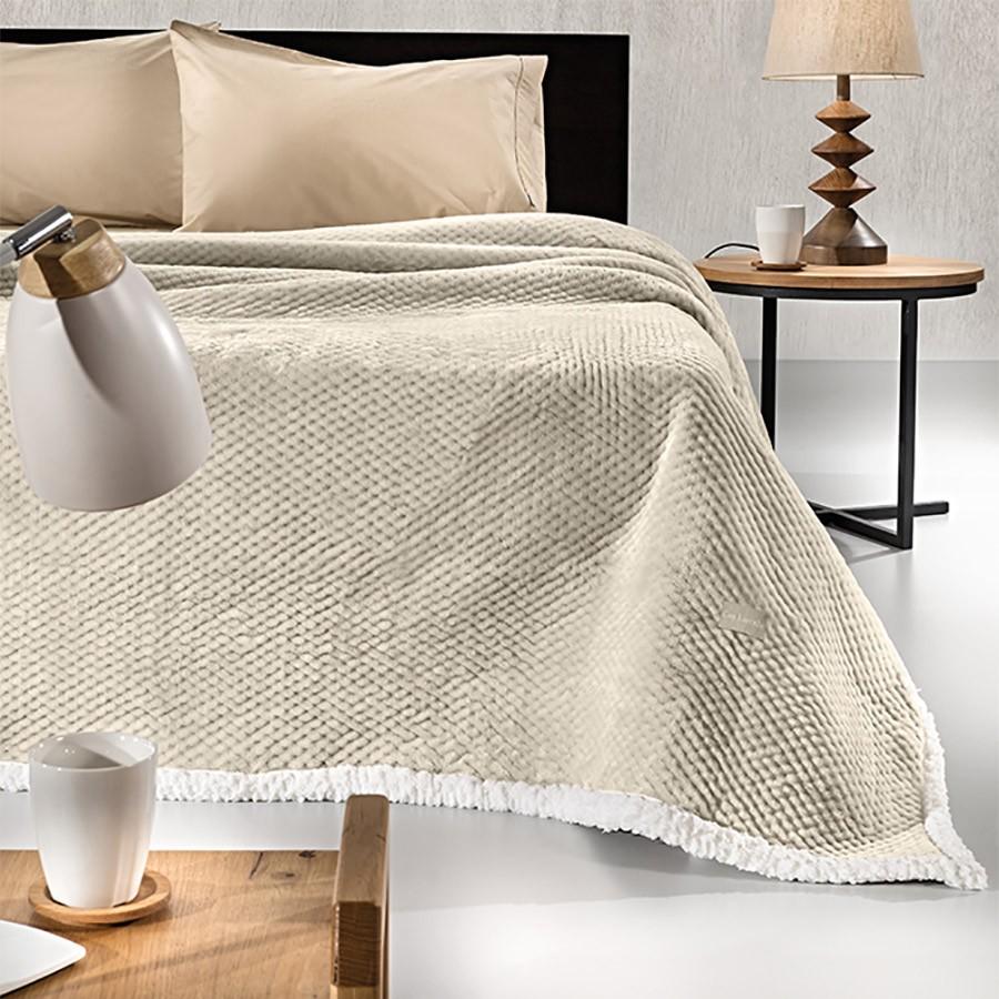 Κουβέρτα Fleece Υπέρδιπλη Με Γουνάκι Guy Laroche Serpa Sand