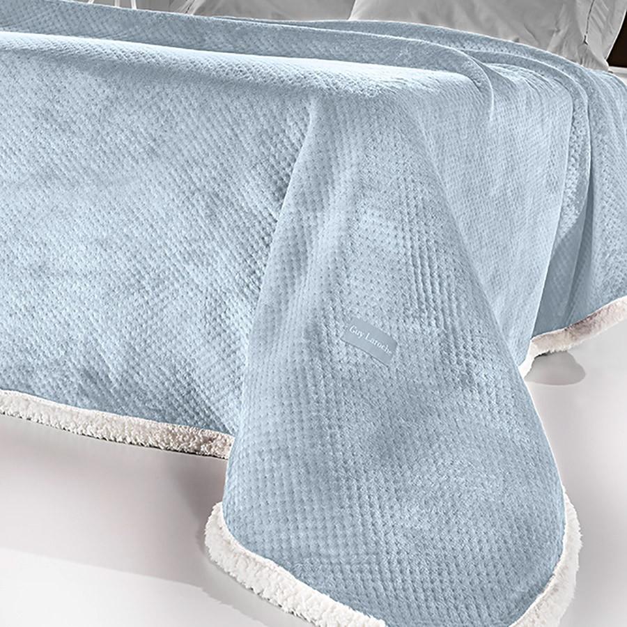 Κουβέρτα Fleece Υπέρδιπλη Με Γουνάκι Guy Laroche Serpa Sky