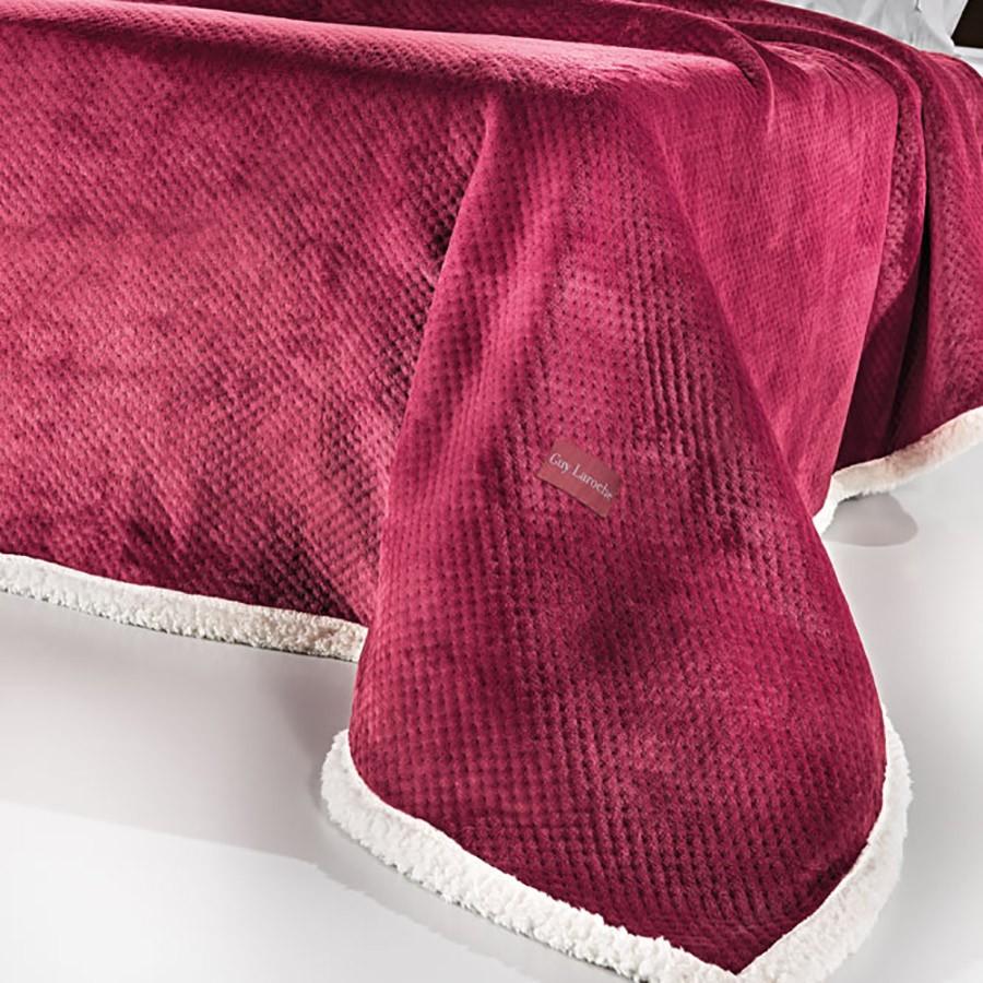 Κουβέρτα Fleece Υπέρδιπλη Με Γουνάκι Guy Laroche Serpa Wine