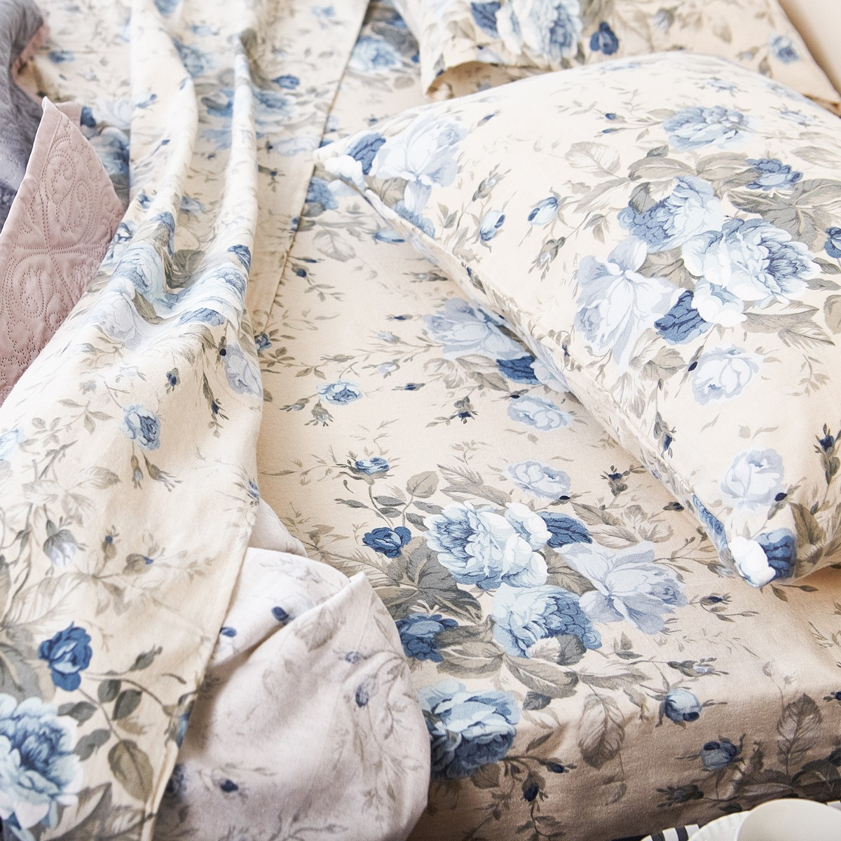 Ζεύγος Φανελένιες Μαξιλαροθήκες Melinen Peony Blue