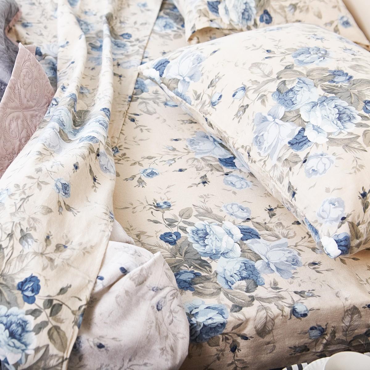 Φανελένια Παπλωματοθήκη Διπλή Melinen Peony Blue