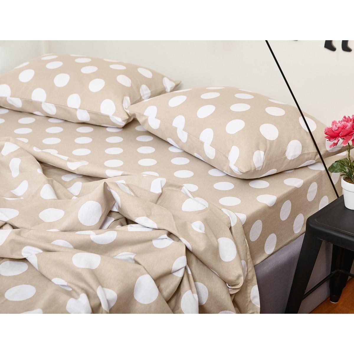 Φανελένια Σεντόνια Διπλά (Σετ) Melinen PolkaDot Beige home   κρεβατοκάμαρα   σεντόνια   σεντόνια ημίδιπλα   διπλά