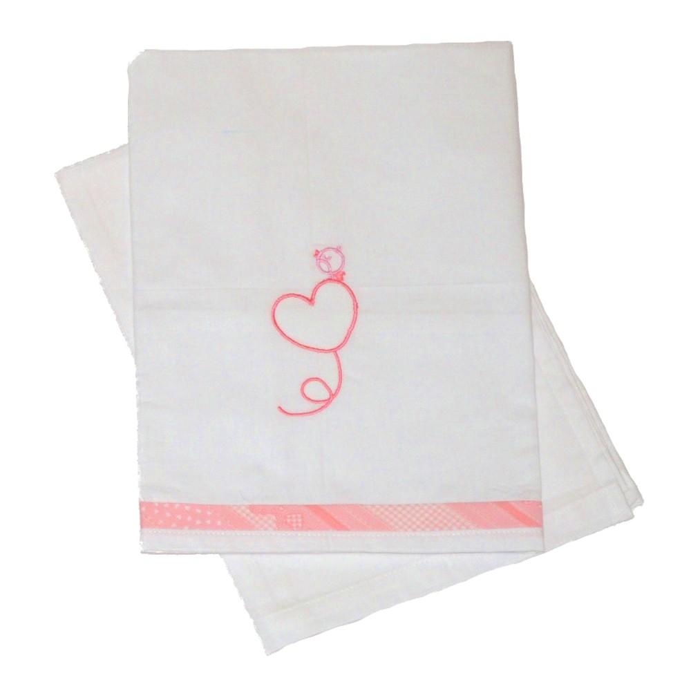 Σεντόνια Λίκνου (Σετ) Κόσμος Του Μωρού 0230 Heart Ροζ