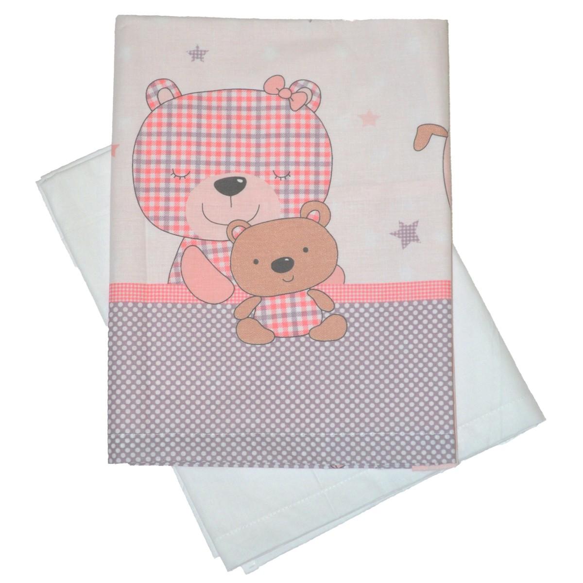 Σεντόνια Λίκνου (Σετ) Κόσμος Του Μωρού 0231 Stars Ροζ
