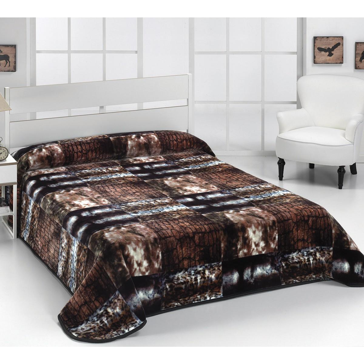 Κουβέρτα Γούνινη Υπέρδιπλη Morven Velour E12 Brown home   κρεβατοκάμαρα   κουβέρτες   κουβέρτες γούνινες   μάλλινες