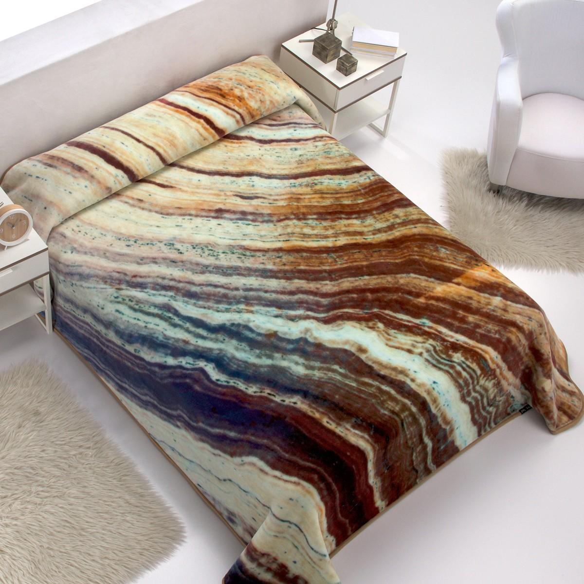 Κουβέρτα Βελουτέ Υπέρδιπλη Morven Marble E02 Beige