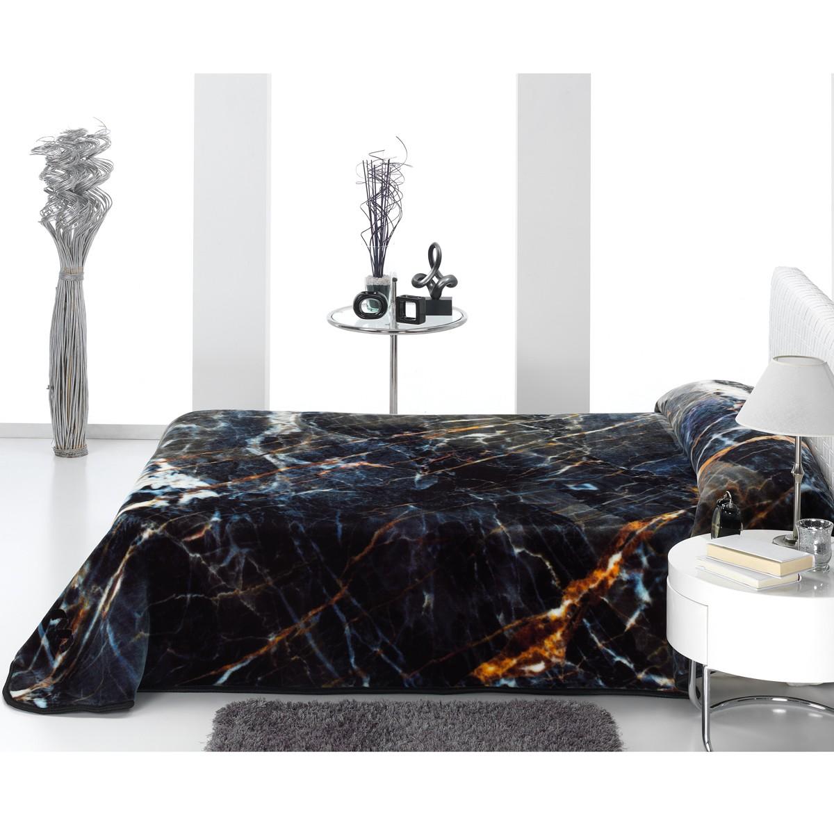 Κουβέρτα Βελουτέ Υπέρδιπλη Morven Marble E05 Black