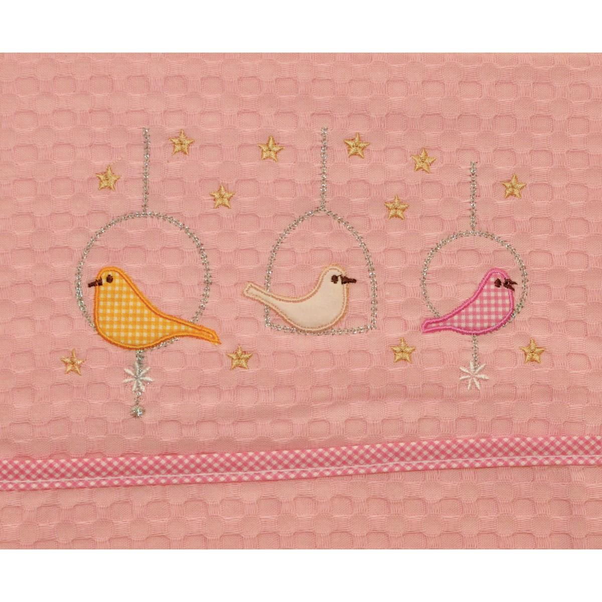 Κουβέρτα Πικέ Κούνιας Morven Birds Pink