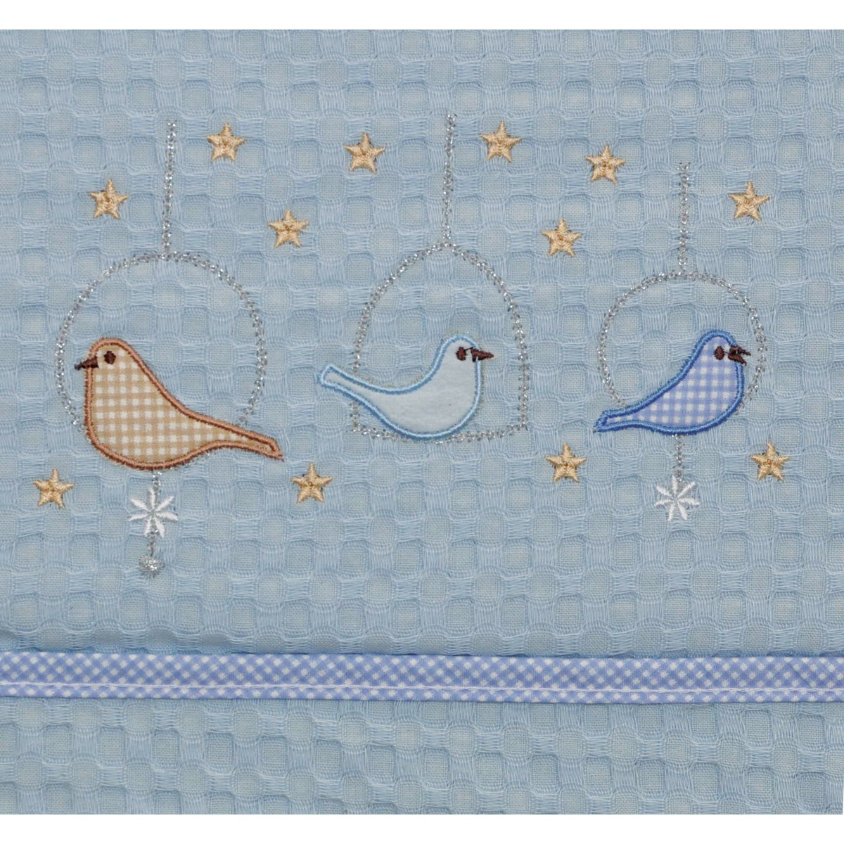 Κουβέρτα Πικέ Αγκαλιάς Morven Birds Ciel
