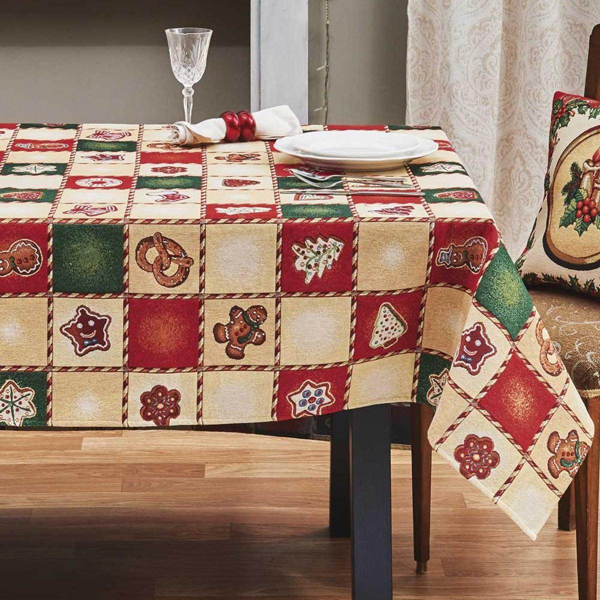 Χριστουγεννιάτικο Τραπεζομάντηλο (160×275) Kentia Made Bisquit