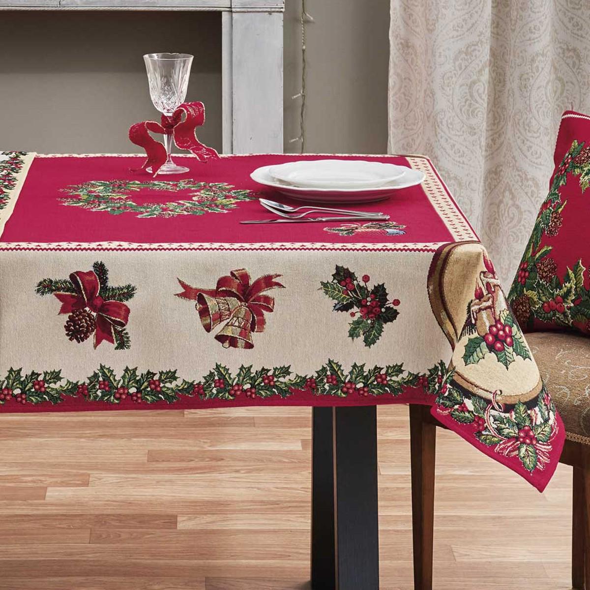Χριστουγεννιάτικο Τραπεζομάντηλο (135×175) Kentia Made Holly 17