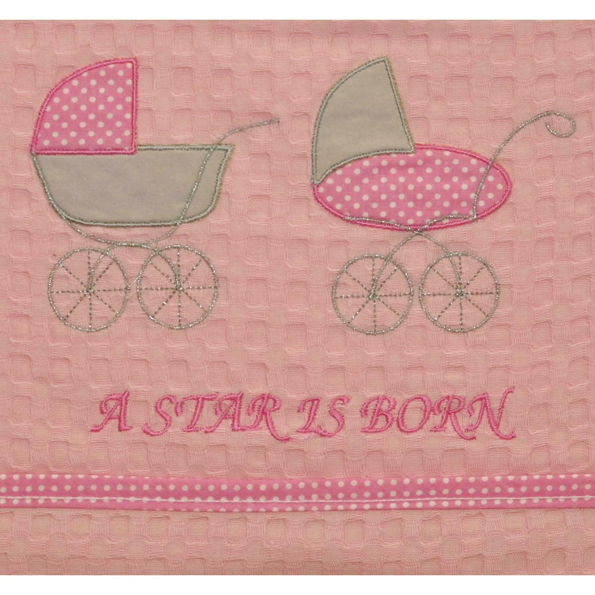 Κουβέρτα Πικέ Αγκαλιάς Morven Stroller Pink