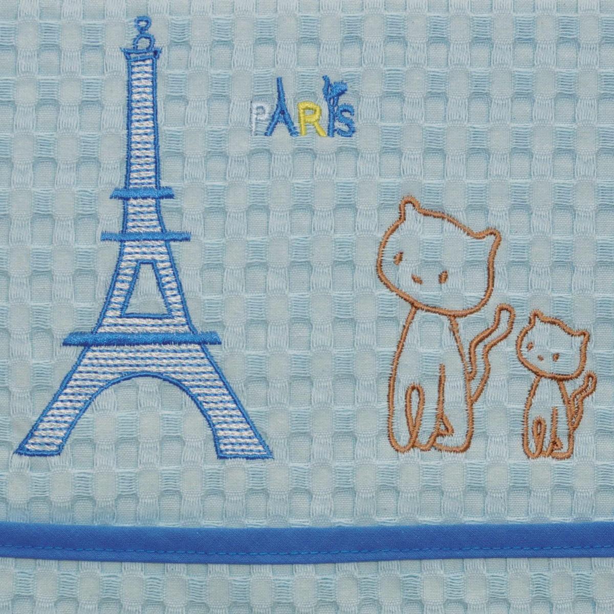 Κουβέρτα Πικέ Αγκαλιάς Morven Paris Blue home   βρεφικά   κουβέρτες βρεφικές   κουβέρτες καλοκαιρινές