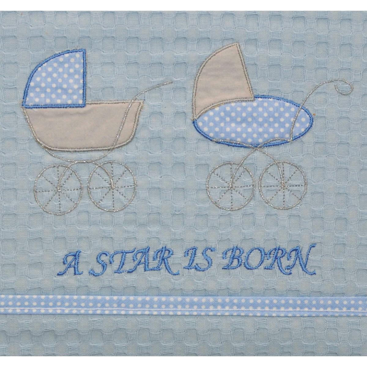 Κουβέρτα Πικέ Αγκαλιάς Morven Stroller Blue home   βρεφικά   κουβέρτες βρεφικές   κουβέρτες καλοκαιρινές