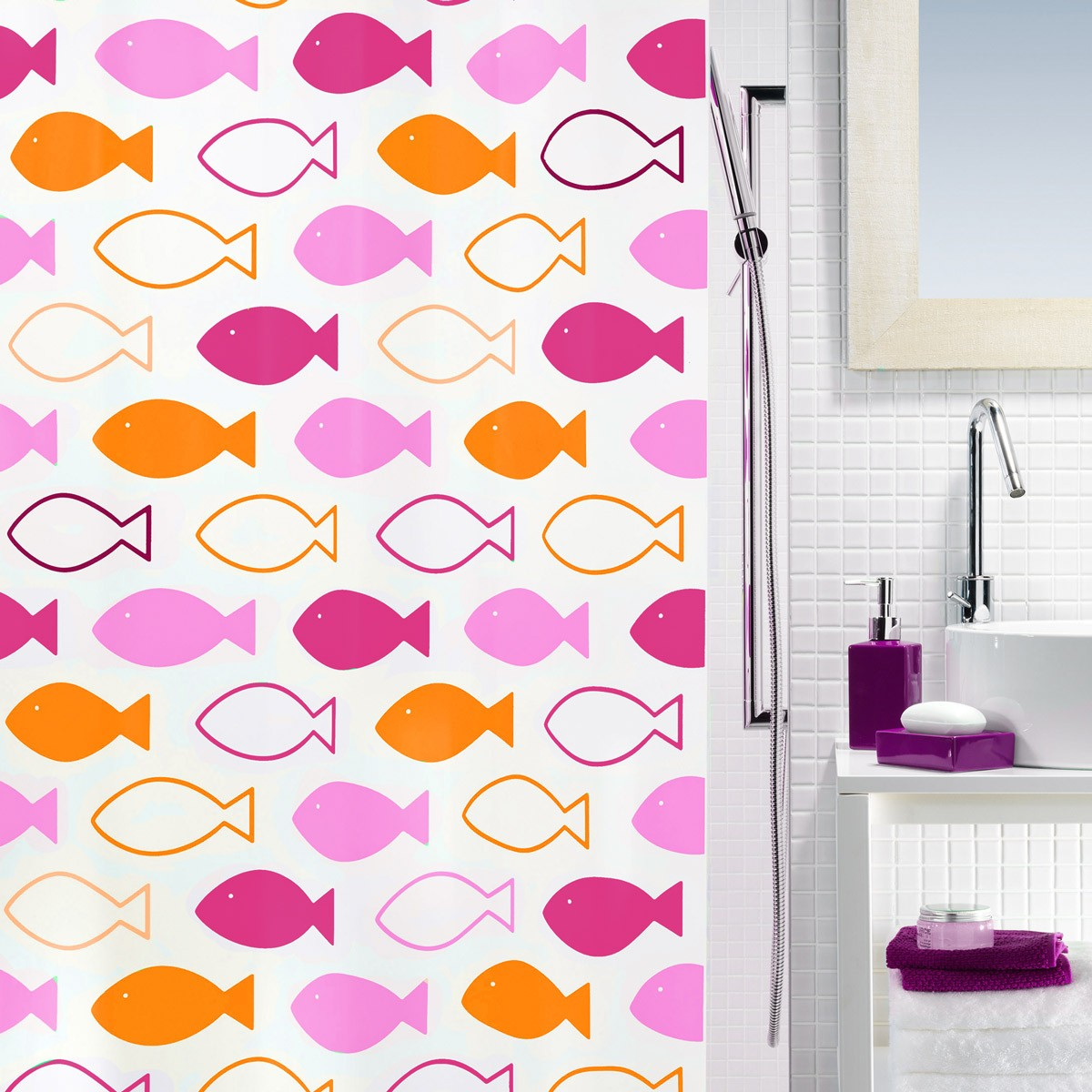 Κουρτίνα Μπάνιου Πλαστική (180×200) Rainbow Fishin Red/Orange