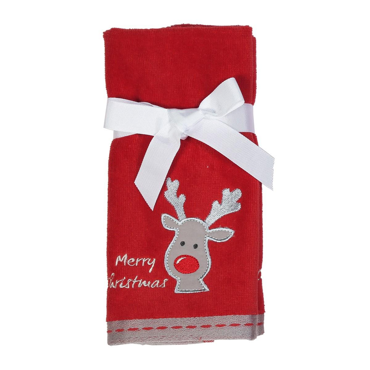 Χριστουγεννιάτικες Πετσέτες Χεριών (Σετ 2τμχ) Nef-Nef Reindeer
