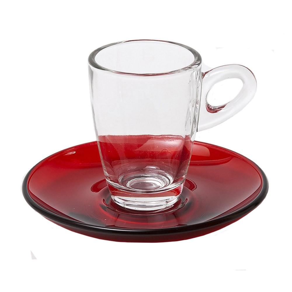 Φλυτζάνια Καφέ + Πιατάκια (Σετ 6τμχ) Espiel Espresso Red STE1184