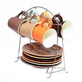 Φλυτζάνια Καφέ + Πιατάκια (Σετ 6τμχ) Με Σταντ Espiel FLI104