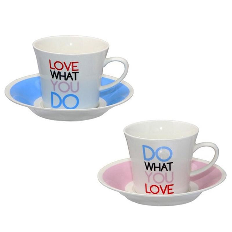 Φλυτζάνια Καφέ + Πιατάκια (Σετ 2τμχ) Espiel Do What You Love DEV