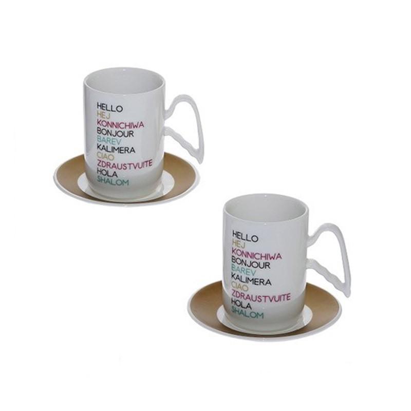 Φλυτζάνια Καφέ + Πιατάκια (Σετ 2τμχ) Espiel Hello DEV113