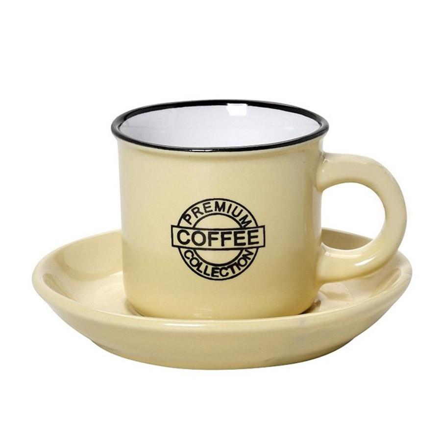 Φλυτζάνι Καφέ + Πιατάκι Espiel Coffee Yellow Large HUN310K6 home   κουζίνα   τραπεζαρία   κούπες   φλυτζάνια