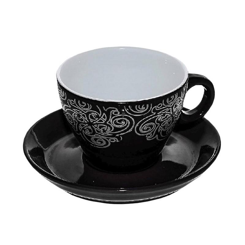 Φλυτζάνι Καφέ + Πιατάκι Espiel Black Large HUN124K6