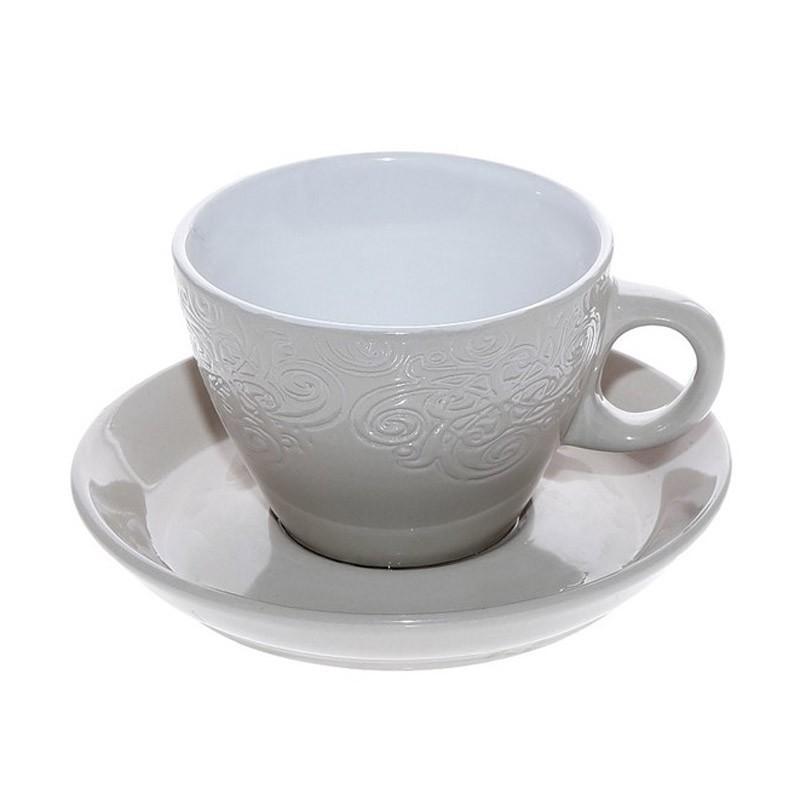 Φλυτζάνι Καφέ + Πιατάκι Espiel Beige Large HUN123K6 home   κουζίνα   τραπεζαρία   κούπες   φλυτζάνια