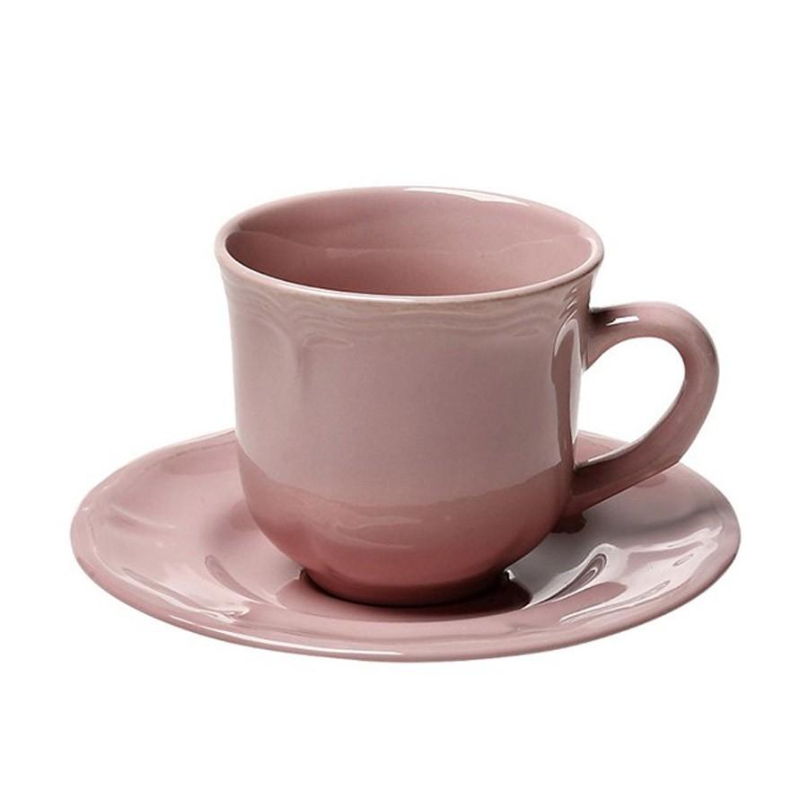 Φλυτζάνι Καφέ + Πιατάκι Espiel Antique Pink Large HUN206K6 home   κουζίνα   τραπεζαρία   κούπες   φλυτζάνια