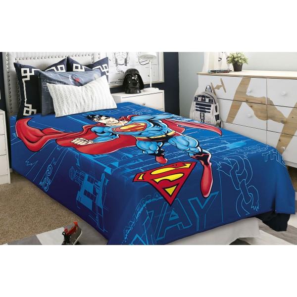 Κουβέρτα Βελουτέ Μονή Belpla Ster Superman