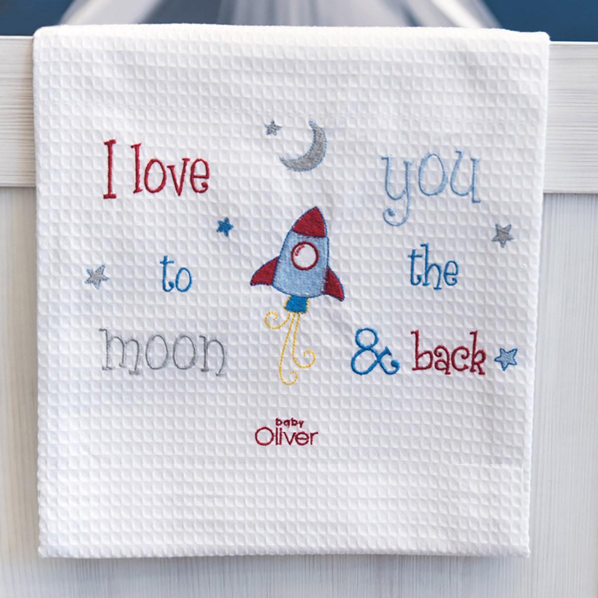 Κουβέρτα Πικέ Κούνιας Baby Oliver The Moon & Back 306 home   βρεφικά   κουβέρτες βρεφικές   κουβέρτες καλοκαιρινές