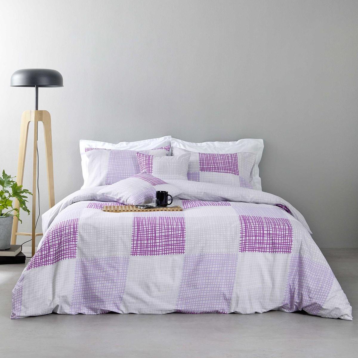Παπλωματοθήκη Υπέρδιπλη (Σετ) Nima Bed Linen Rattan Lilac