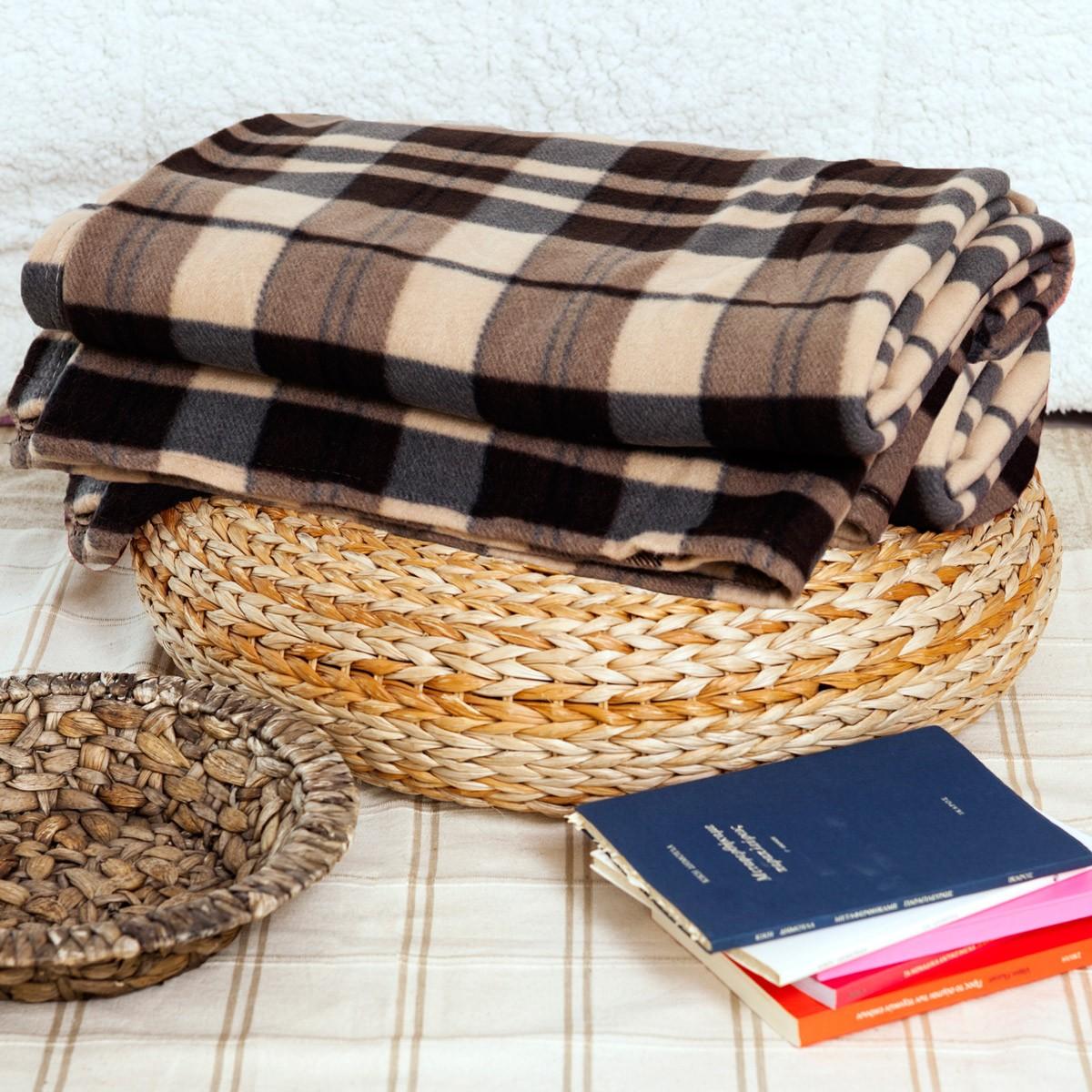 Κουβέρτα Fleece Διπλή Melinen Checked Brown home   κρεβατοκάμαρα   κουβέρτες   κουβέρτες fleece υπέρδιπλες