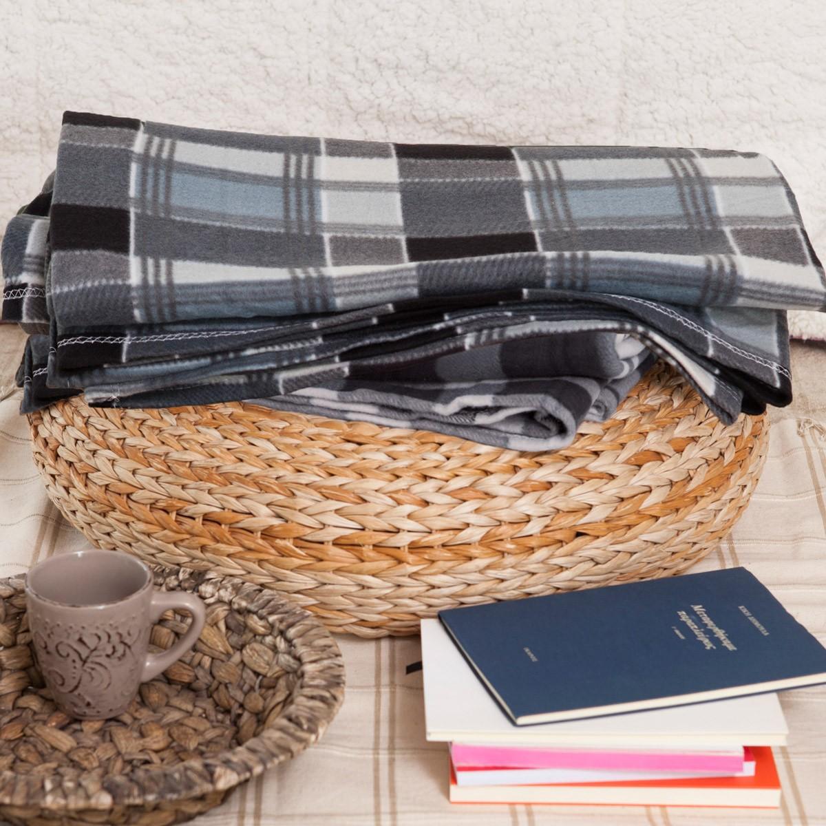Κουβέρτα Fleece Διπλή Melinen Checked Grey