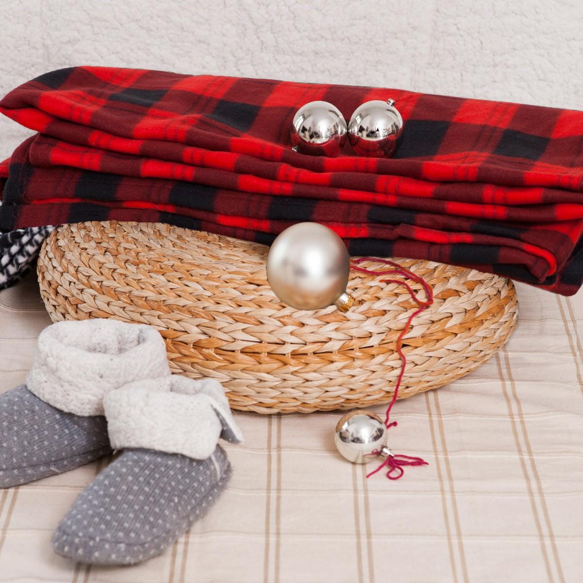 Κουβέρτα Fleece Διπλή Melinen Checked Red home   κρεβατοκάμαρα   κουβέρτες   κουβέρτες fleece υπέρδιπλες