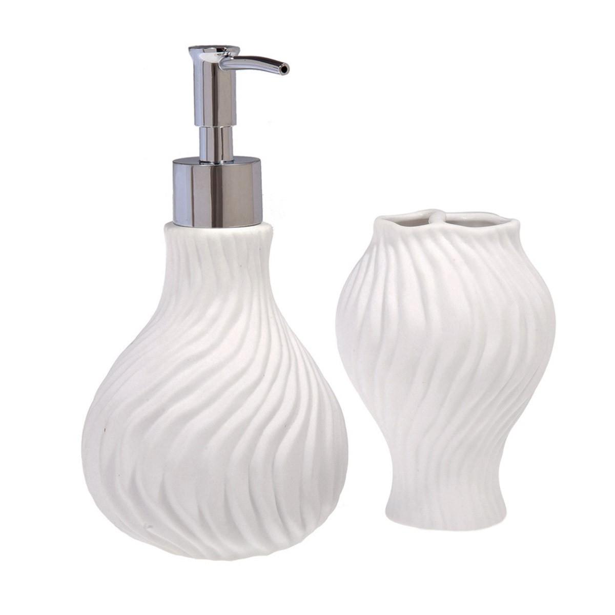 Αξεσουάρ Μπάνιου (Σετ 2τμχ) Marva Shell White 483041