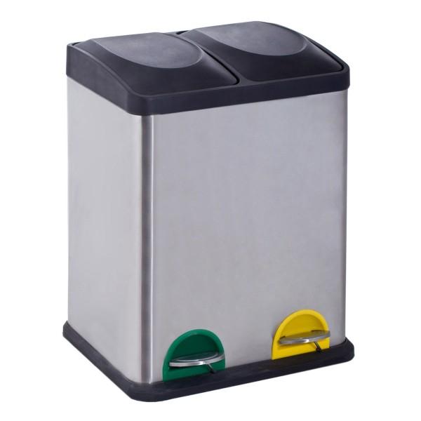Κάδος Ανακύκλωσης Διπλός Marva 36Lit Inox 531025