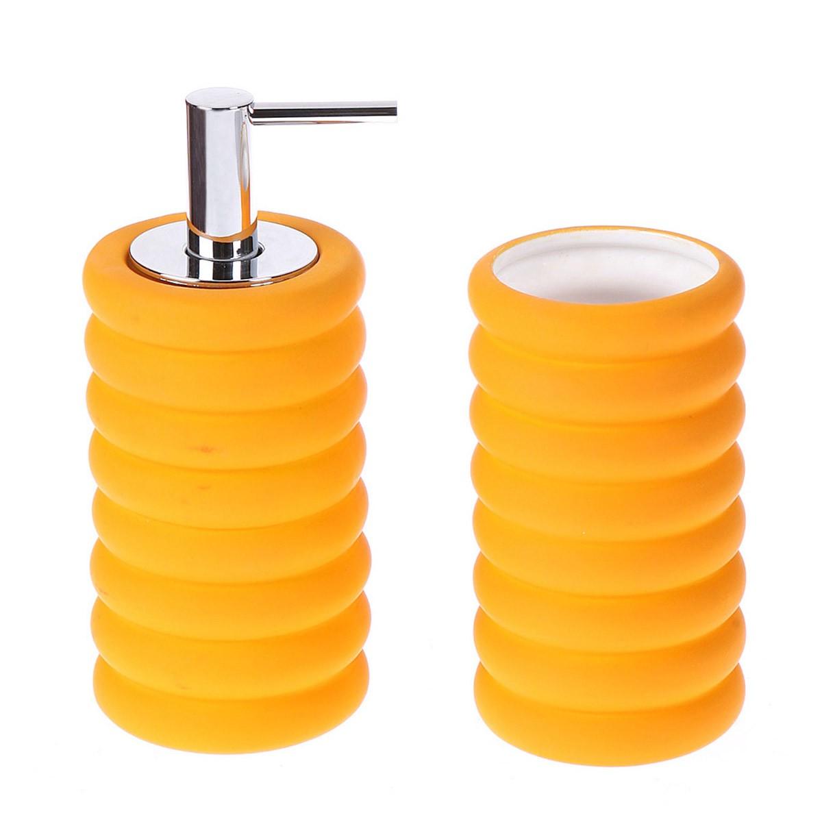 Αξεσουάρ Μπάνιου (Σετ 2τμχ) Marva Rubber Circle Orange 638005