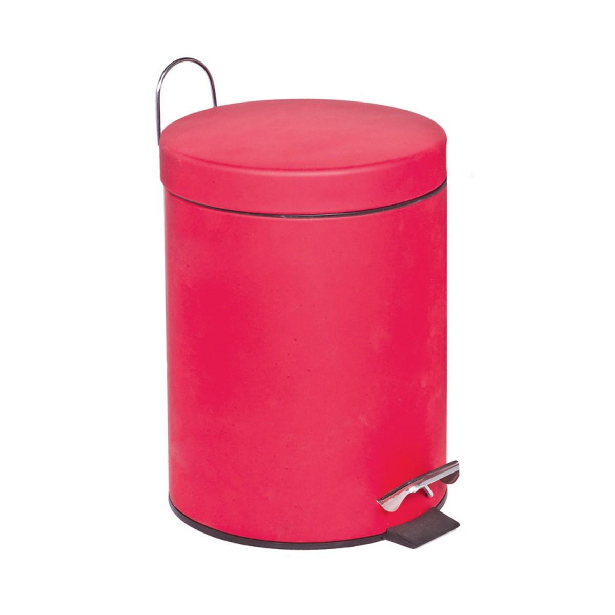 Κάδος Απορριμάτων (20x28) Marva 5Lit Rubber Red 531039 home   μπάνιο   κάδοι απορριμμάτων