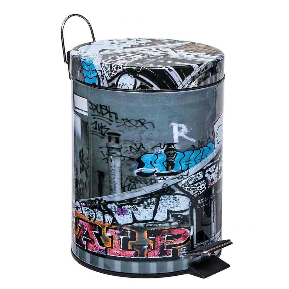 Κάδος Απορριμάτων (21x28) Marva 5Lit Graffity 468004 home   μπάνιο   κάδοι απορριμμάτων