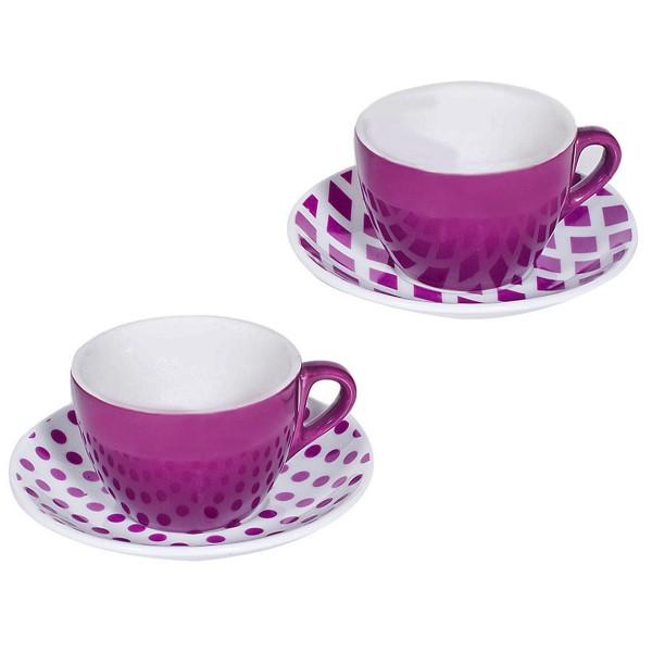 Φλυτζάνια Καφέ + Πιατάκια (Σετ 6τμχ) Marva Purple 596010