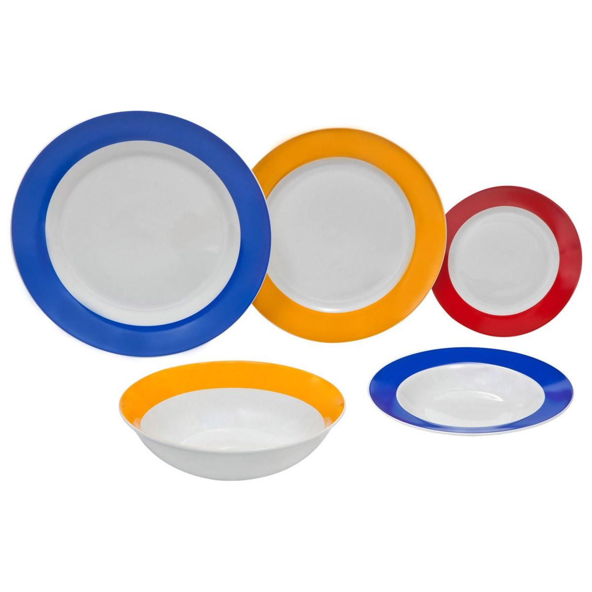 Σερβίτσιο 20Τμχ Marva Color Rim 687007 home   κουζίνα   τραπεζαρία   πιάτα   μπωλ