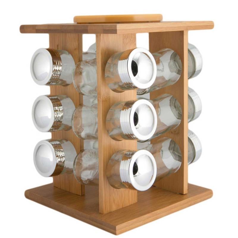 Βάζα Για Μπαχαρικά (Σετ 12τμχ) Σε Σταντ Marva Nat. Bamboo 604008