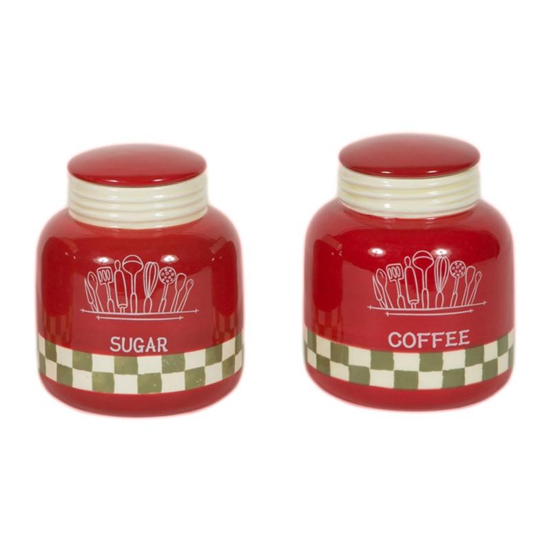 Δοχείο Ζάχαρης + Καφέ (Σετ) Marva Red Jars 652125