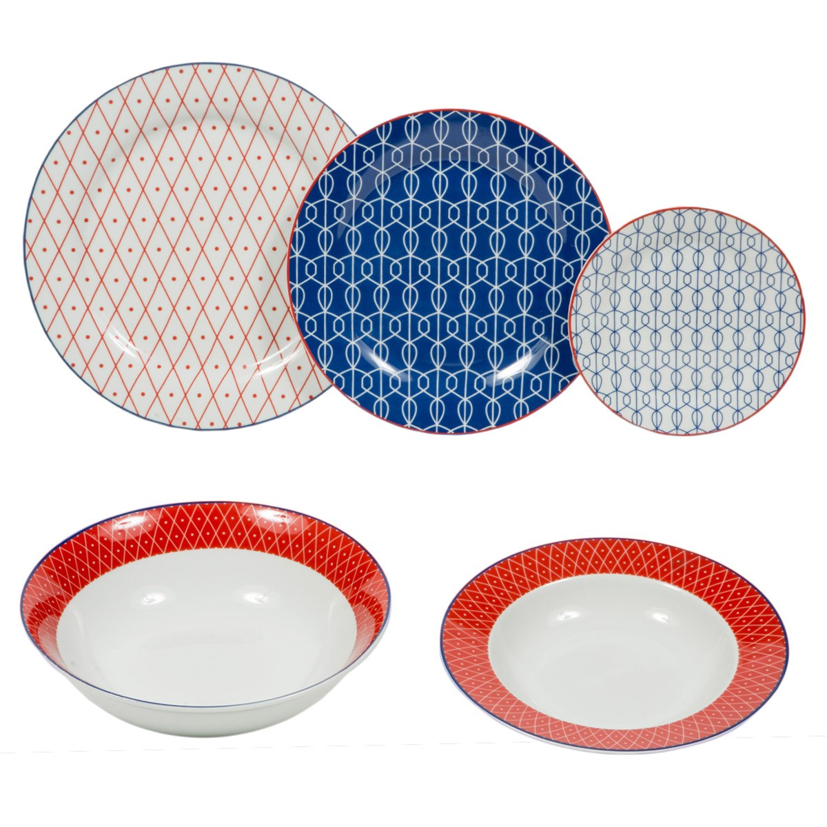 Σερβίτσιο 20Τμχ Marva Mesh Red/Blue 687028 home   κουζίνα   τραπεζαρία   πιάτα   μπωλ
