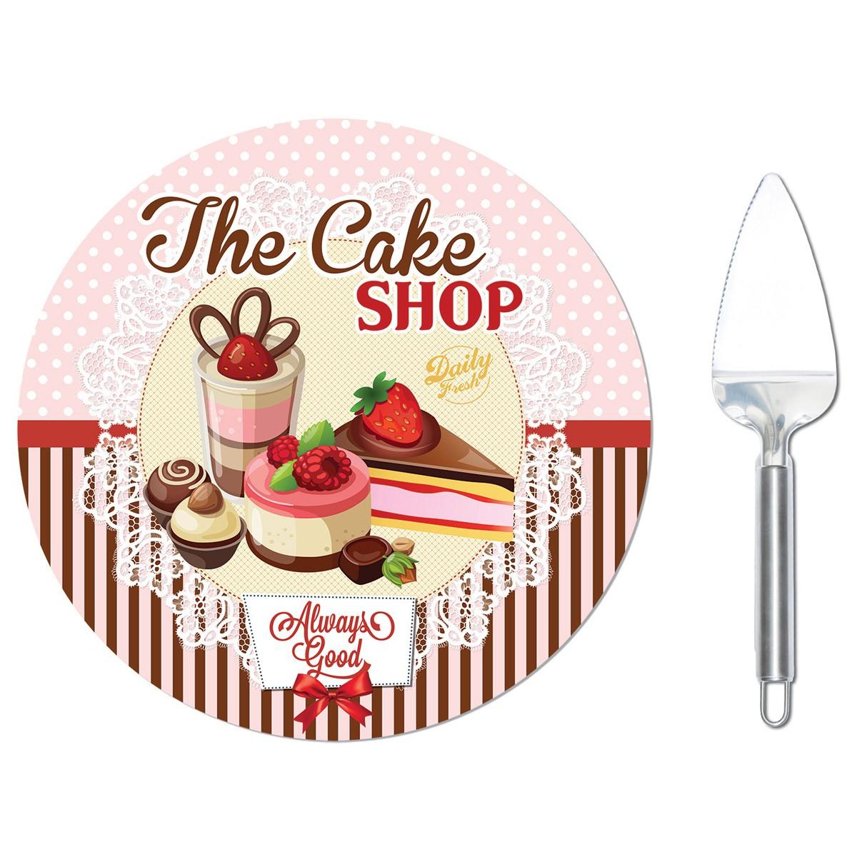 Πιατέλα Σερβιρίσματος Με Σπάτουλα Marva The Bake Shop 490CΑSΗ home   κουζίνα   τραπεζαρία   είδη σερβιρίσματος