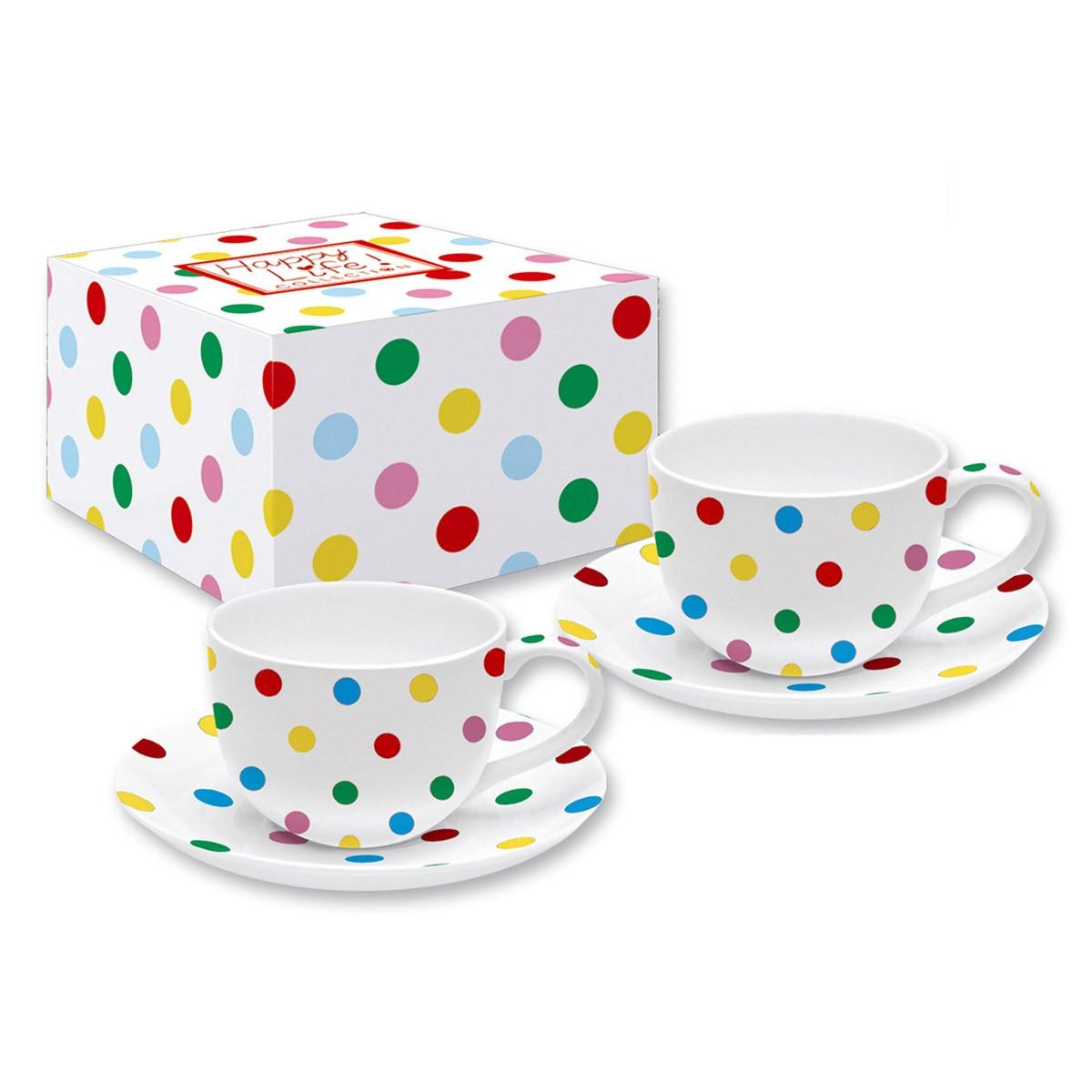 Φλυτζάνια Καφέ + Πιατάκια (Σετ 2τμχ) Marva Pois R0364ΡΟΙC