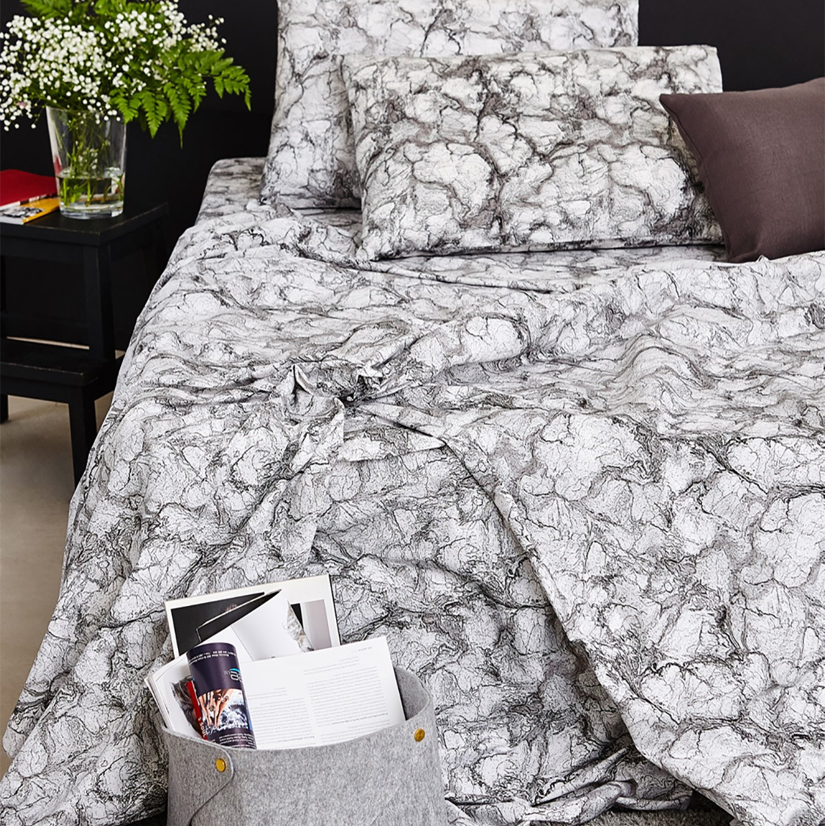 Παπλωματοθήκη Μονή Melinen Ultra Marble Charcoal