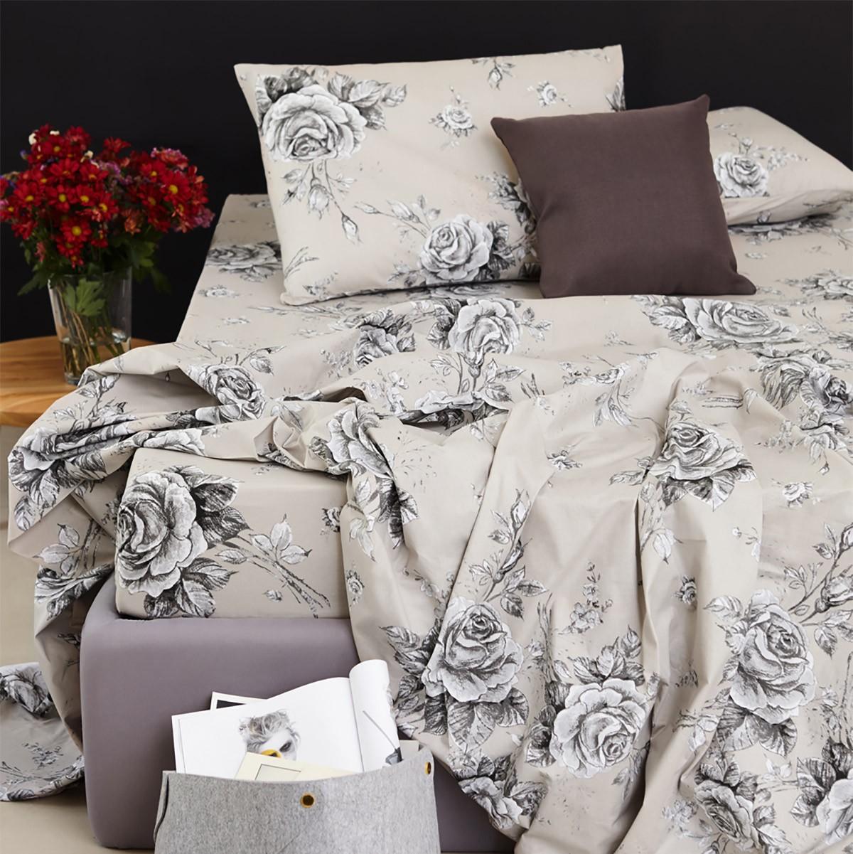 Σεντόνια Μονά (Σετ) Melinen 13293 Victorian Roses Grey